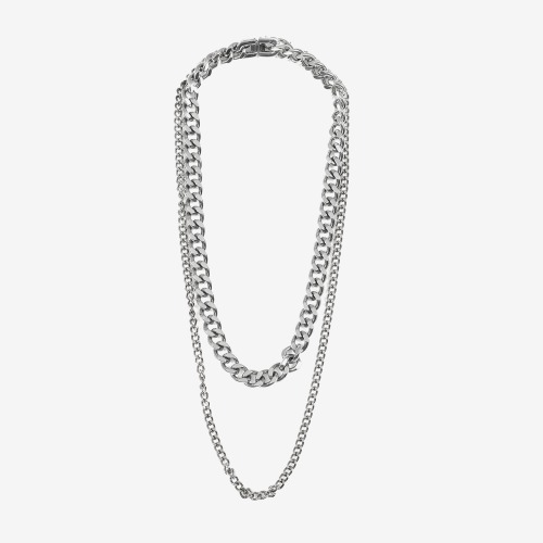DOUBLE NECKLACE CHAIN (SILVER)