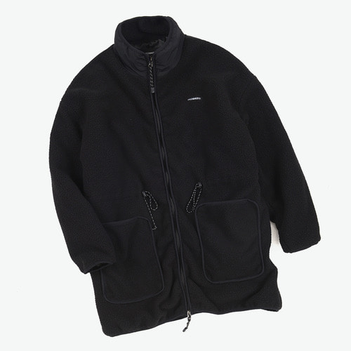 FLEECE BOA LONG JACKET (BLACK)