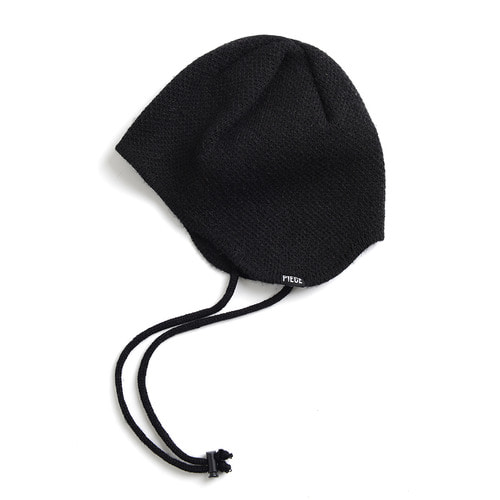CASHMERE EAR FLAP BEANIE (BLACK)