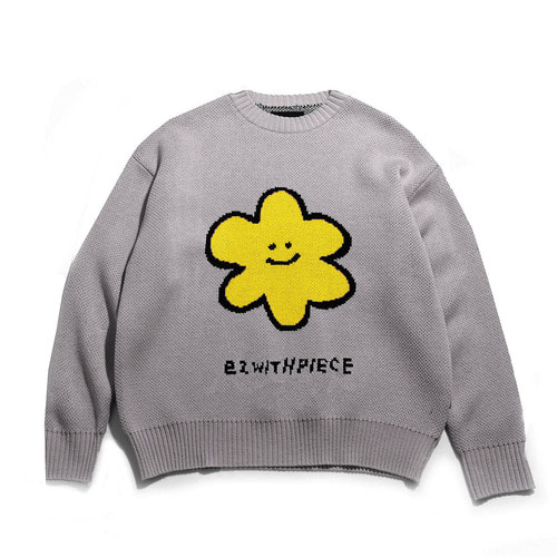 [EZwithPIECE] DAISY OV KNIT SWEATER (GREY)