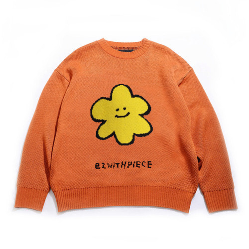 [EZwithPIECE] DAISY OV KNIT SWEATER (ORANGE)