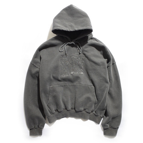 [EZwithPIECE] PIG DYED TRASHMAN HOODIE (CHARCOAL)