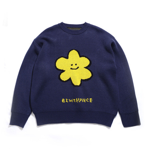 [EZwithPIECE] DAISY OV KNIT SWEATER (NAVY)